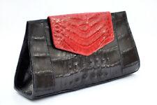 Megan Black-Red Skin Crocodile Clutch By Margui Webster Handbags Alligator Purse
