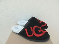 UGG SCUFF BLACK/ RED UGG LOGO SUEDE/ SHEEPSKIN SLIPPERS, MEN US 13/ EUR 46 ~NIB