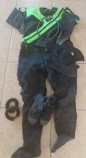 DUI FLX50/50  Dry Suit - Medium with  Boots, Hood, Ankle Weights, Hose & Bag