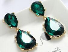 1 Pair Elegant Green Crystal Rhinestone  Ear Drop Dangle Stud long Earrings 186