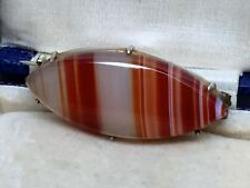 Antique Victorian Scottish Banded Agate Brooch