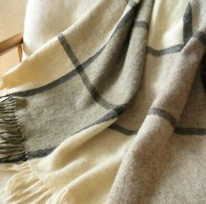 "Vtg Greenland Kimik 100% Wool Throw Blanket Tan & Gray Plaid w Fringe 54 x 80"""