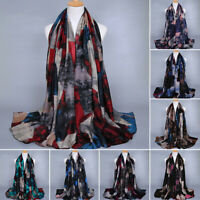 Women Long Graffiti Printed Cotton Scarf Wrap Ladies Shawl Large Scarves Hijab