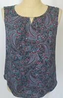 Talbots Cami Shell Tank Top Medium Paisley Black Red Sleeveless Blouse