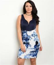 NEW..Stunning Sassy Plus Size Navy & White Floral Print Bodycon Dress.Sz16/2XL