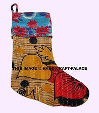 Handmade Vintage Kantha Christmas Stockings Yellow & Multi Stocking Hanger Decor