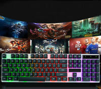 LED Backlight Colorful Gaming Game Keyboard Wired RGB for Desktop Laptop USB