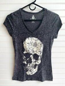 Jerry Leigh Apparel Ladies Cap Sleeve Gray Skull Shirt Juniors Size S