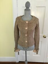 Anthropologie MOTH Wool Blend Lace Bow Cardigan Sweater Tan M