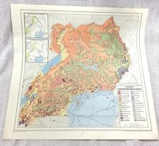 1967 Vintage Map of Uganda Africa Geomorphology Physical Geography Topographic