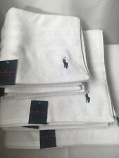 Ralph Lauren Hand, Bath & Bath Sheet Towels White 100% Fine Combed Cotton NEW