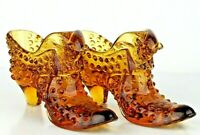 Matching Pair Of Fenton Amber Art Glass Hobnail Shoes With Cat Head Vintage 50's