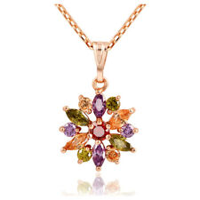 Zircon Flower Charm Pendant necklace For Women Rose Gold Plated Chain Neckl T4V7