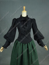 Victorian Steampunk Gothic Black Blouse Shirt Top Witch Halloween Costume B187