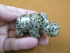 (Y-Rhi-735) spotted Rhino rhinoceros gemstone Figurine carving love baby rhinos