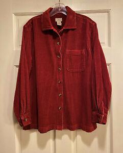 Women LL Bean Wide Whale Corduroy Shirt Burgundy Button Up Pocket Cotton Size M