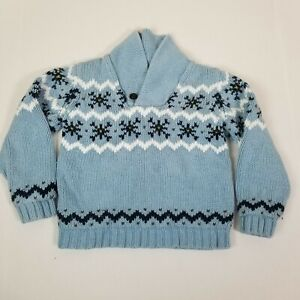 Janie and Jack Nordic Fair Isle Print Pullover Sweater Blue White Boys Size 6
