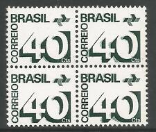 Brésil. 1972. 40c Noirâtre Vert, Double Impression. SG: 1387 variété MNH 4 Bloc