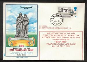 ALCOCK AND BROWN FDC 50TH ANNIVERSARY OF THE FIRST TRANSATLANTIC FLIGHT (NL337)