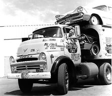 Dodge Truck 700 Car carrier Loaded with 1958 Dodge cars 8 x 9 Photograph