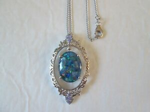 Australian Mosaic Opal and Tanzanite Necklace Platinum over Sterl TGW 12.10 cts.