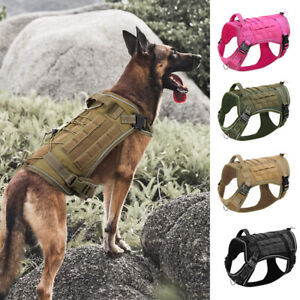 Military Tactical Girl Dog Harness w/ Handle Training Molle Vest Black Tan Pink
