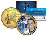 DAVID WRIGHT Colorized New York State Quarter U.S. Coin 24K Gold Plated METS