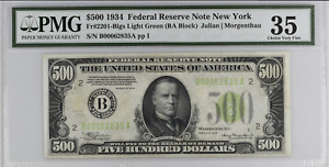 $500 1934 Federal Reserve Note New York PMG Choice VF (Erasure) Witter Coin