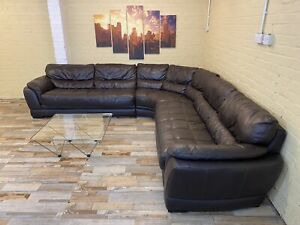 Family Huge Brown Leather Corner Sofa