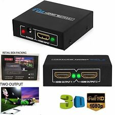 NEW 1 INPUT 2 OUTPUT HDMI SPLITTER 2 WAY SWITCH BOX Hub SUPPORT FULL HD 3D