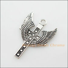 3Pcs Tibetan Silver Tone Wings Cross Charms Pendants 28x39.5mm
