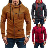 Men's Winter Warm Zip Hoodies Slim Fit Hooded Outwear Coat Jackets Sweatshirt