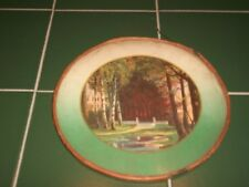 "Old Victorian Glass 7&3/4"" Flue Cover w/ Picture of Mansion in Woods Birch Trees"