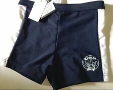 Boys Navy Blue / White Trim Swim Trunks With Live to Surf Motif Matalan 11 Years