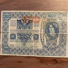 Pre WWI Currency 1000 tausend Kronen Banknote Austria Hungary 1902