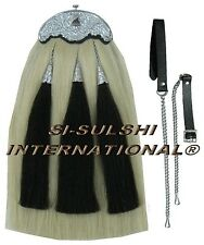 SI-WHITE HORSE HAIR MILITARY LONG SPORRAN ( 100% Original ) with THISTLE CANTLE