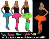 Neon Cyber Tutu 4PC Set Fancy Dress 1980s Rave Club Acid House Hen Nights lot