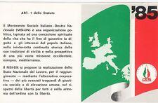 Tessera 1985 Movimento Sociale MSI M.S.I perfetta