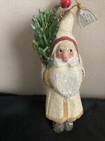 "VTG CHRISTMAS House of Hatten Santa w Tree 5""Figurine Carved Wood 1995 W Tag"
