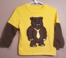 Circo Toddler Boys Long Sleeve Yellow T-Shirt With Brown Bear on Front Size 3T