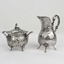 Antique Ornate German 800 Silver Creamer & Sugar Set by J. Riemann - SL