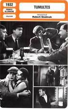 FICHE CINEMA : TUMULTES - Boyer,Florelle,Tambour,Siodmak 1932