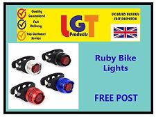 Black Ruby Set Bike Cycle Tail Rear Front Red White LED Lamp Flash Light Safety