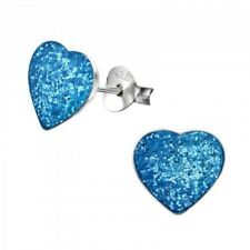 Girls Ladies 925 Sterling Silver Studs Dark Blue Heart Earrings - Gift boxed