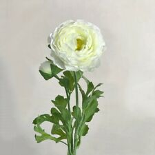 Off-White Faux Silk Ranunculus, Single Realistic Artificial Ivory, White Flowers