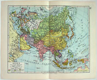 Original 1928 Map of Asia by Meyers. Antique