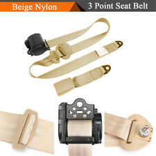 3 Point Style Auto Car Retractable Safety Seat Belt Beige Nylon Safety Strap 1PC