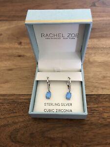 RACHEL ZOE .925 SS Blue Opal Drop Earrings Sterling Silver