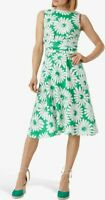 Hobbs pure Linen Twitchill Floral Dress, Green/White UK Size 18 RRP £129 #39
