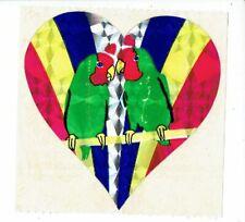 Rare Vintage Sandylion Stickers Mod ~ Prism Colorful Heart Lovebirds Bird Parrot